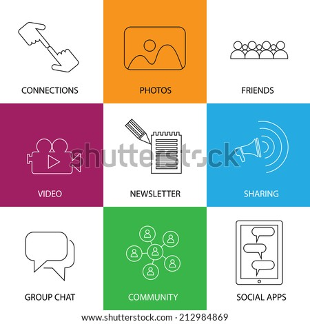 social media icons of friends, community, videos & photos - concept vector. This graphic represents internet concepts like group chat, mobile apps for sharing & interaction, people group engagement - stock vector