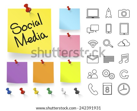 Social Media Icons on Note Pad Vector - stock vector