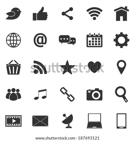 Social media icons on white background, stock vector - stock vector