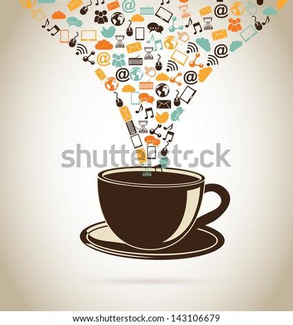 social media icons over beige background vector illustration - stock vector