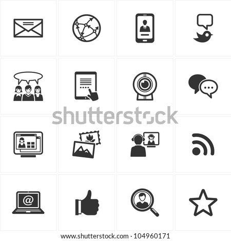 Social Media Icons - Set 1 - stock vector