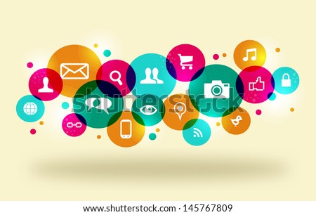 Social media icons set in colorful circle layout. EPS10 file version. This illustration contains transparencies and is layered for easy manipulation and custom coloring.