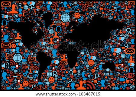 Social media icons set in World map layout. Vector file layered for easy manipulation and custom coloring. - stock vector
