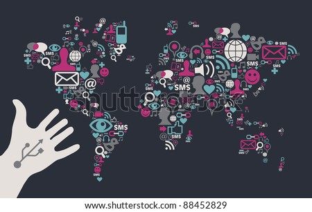 Social media icons set in World Map shape with one USB white hand over black background. Vector file available.