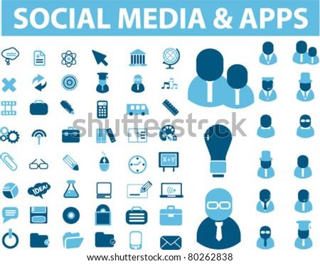 social media icons, signs, vector illustration - stock vector