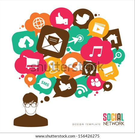 social media icons & speech bubbles with a young men - stock vector