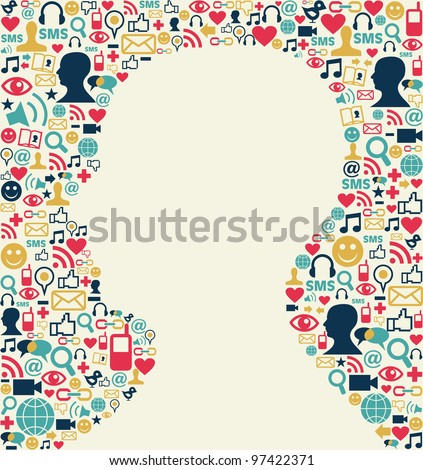 Social media icons texture background with man head silhouette shape. Vector file available.