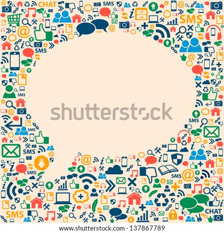 Social media icons texture in talk bubble shape composition background - stock vector