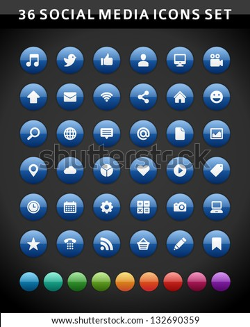 Social media icons vector - stock vector