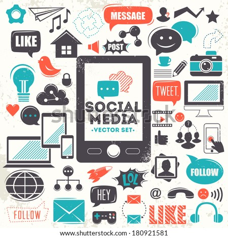 Social media icons. Vector set - stock vector