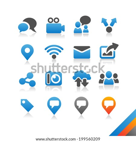 Social media icons vector - Simplicity Series - Three color version icons vector - stock vector