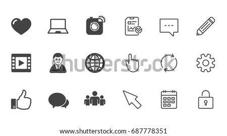 Social Media Icons Video Share Chat Stock Vector 687778351