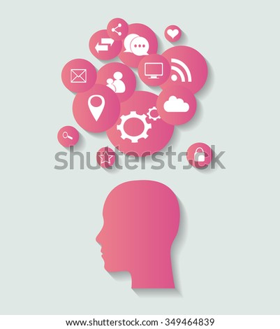 social media icons with human head, abstract vector