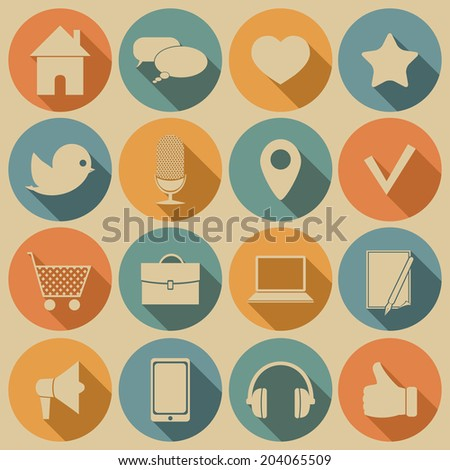 Social media icons with long shadow. Vector set, EPS 8.