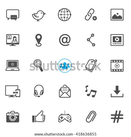 Social media icons with White Background  - stock vector