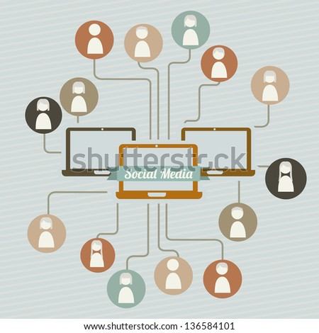 social media illustration, vintage style. vector background - stock vector
