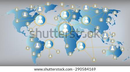 social media illustration - world map global connections - stock vector