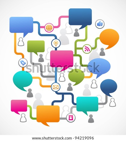 Social media image, people with speech bubbles - stock vector
