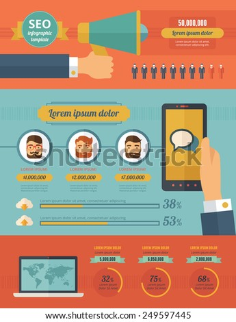 Social Media Infographic Elements. - stock vector