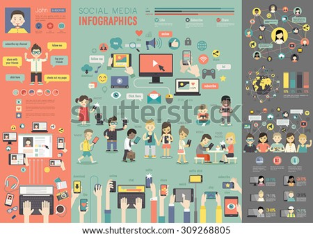 Social Media Infographic set with charts and other elements. Vector illustration. - stock vector