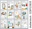 Social Media Infographic set with charts, icons, map, diagrams, other elements. People use smartphone, social networks, camera, looking news, video and picture. Vector illustration, flat modern style. - stock photo