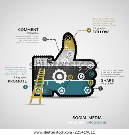 Social Media infographic template with geared thumb up - stock vector
