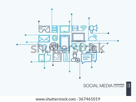 Social media integrated thin line symbols. Modern linear style vector concept, with connected flat design icons. Illustration for digital network, internet, communicate, technology, global concepts. - stock vector
