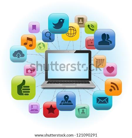 Social Media Laptop - stock vector