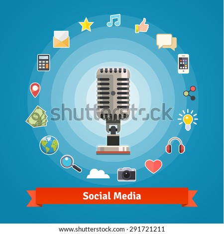 Social media marketing and podcasts recording studio concept and icons. Flat style vector set. - stock vector