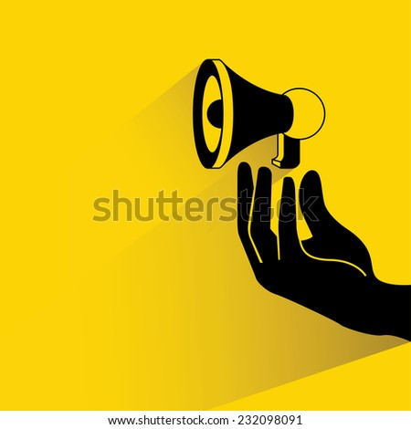 social media marketing concept, hand holding megaphone on yellow background, flat and shadow theme - stock vector