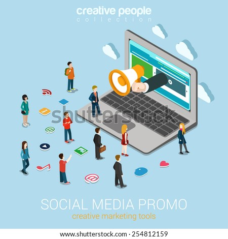 Social media marketing online promotion flat 3d web isometric infographic technology concept vector. Hand loudspeaker sticks big laptop micro people around service icons. Creative people collection. - stock vector