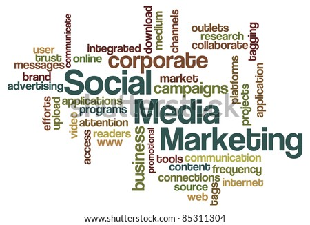 Social Media Marketing Word Cloud - stock vector
