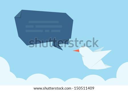 social media message bird, vector - stock vector