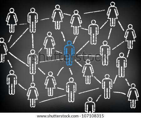 Social media network and connections on black chalkboard. Men and women. Focus on man. Vector illustration version.