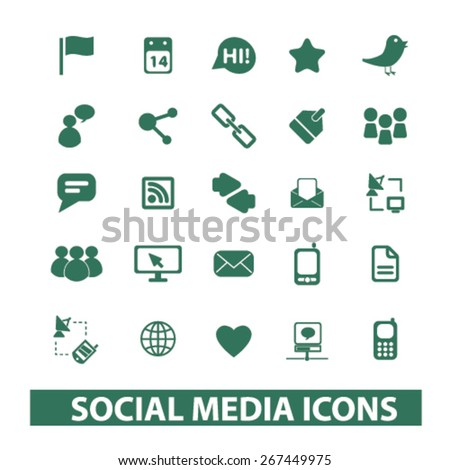 social media, network, application, community isolated web icons, signs, illustrations concept design set, vector