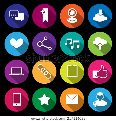 Social media network application icons flat round buttons set isolated vector illustration - stock vector