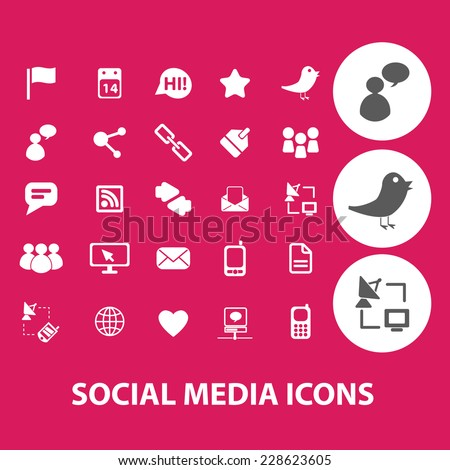 social media, network, blog, community black isolated icons, signs, symbols, illustrations set, vector - stock vector