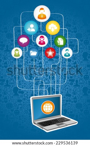 Social media network communication concept with notebook and app icons. EPS10 vector file organized in layers for easy editing. - stock vector
