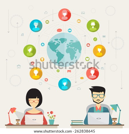 social media network, concept of networking between many people from all over the world - stock vector