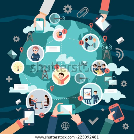 Social media network concept with business people avatars and hands holding mobile devices vector illustration - stock vector
