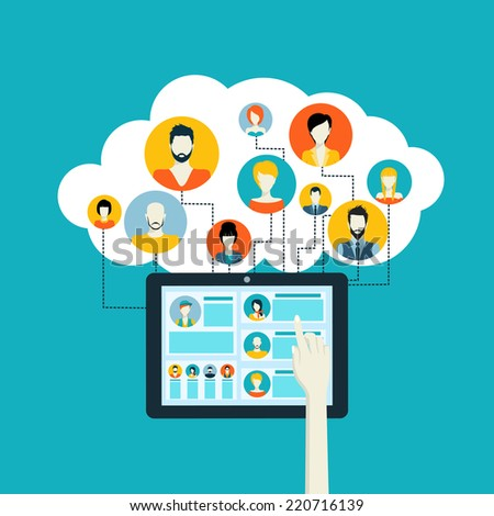 Social media network concept with human hand touching tablet and male female avatars connected vector illustration - stock vector