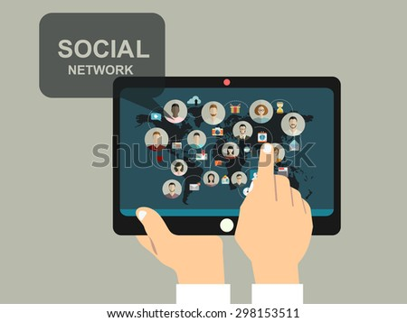 Social media network concept with human hand with tablet avatars .vector illustration - stock vector