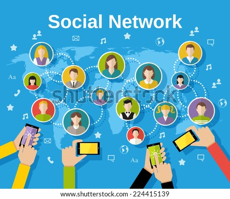 Social media network concept with human hands with smartphones avatars and world map on background vector illustration - stock vector