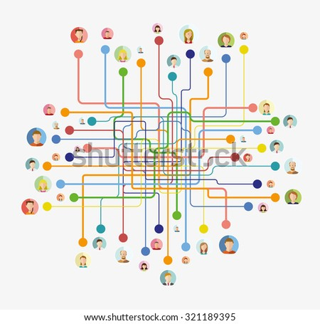 Social media network concept with male and female avatars connected vector illustration - stock vector