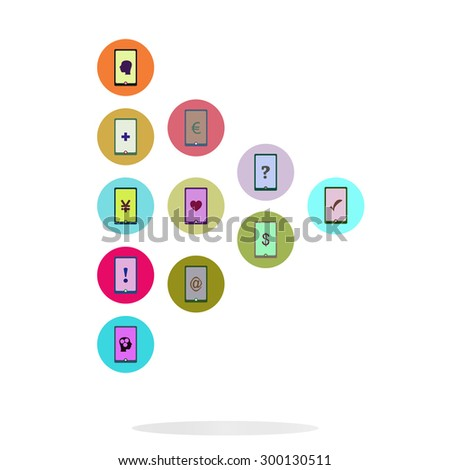 Social media network. Connected symbols for interactive, market, digital, communicate, connect, global concepts. Background with circles, lines and integrate flat icons. Vector illustration - stock vector