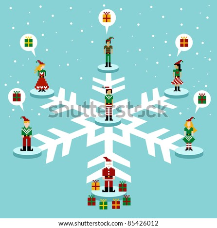 Social media network connection concept at Christmas time. Vector available - stock vector