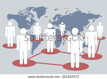 Social media network connection concept on the world map. vector illustration - stock vector