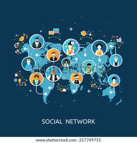 Social media network connection concept. People in a social network. Concept for social network in flat design. Globe with many different people's faces - stock vector