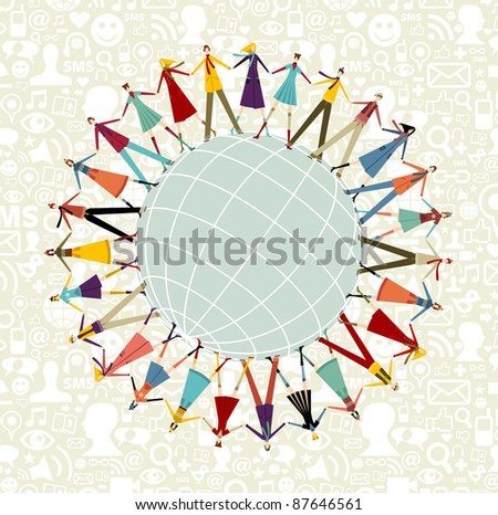 Social media network connection concept, with social icons pattern background - stock vector