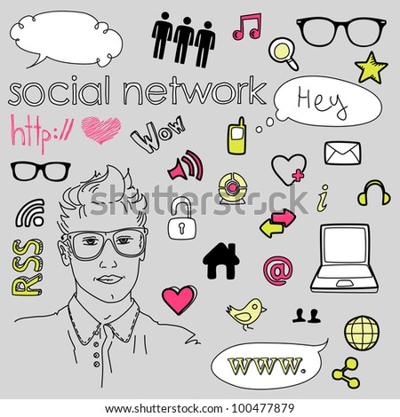 Social media network connection doodles - stock vector